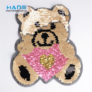 Hans Factory Directly Sell Transparent Sequin Embroidery Patches
