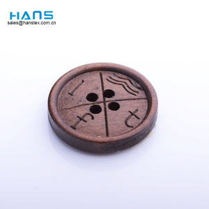 Hans Fast Delivery Sewing Engraved Custom Logo Wood Button