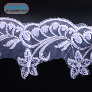 Hans Free Design Soft White Bridal Embroidered Tulle Lace Fabric
